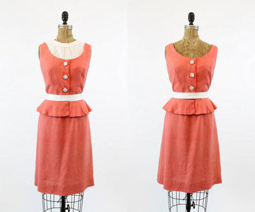 1950s linen dress large  | vintage peplum dress with dickey