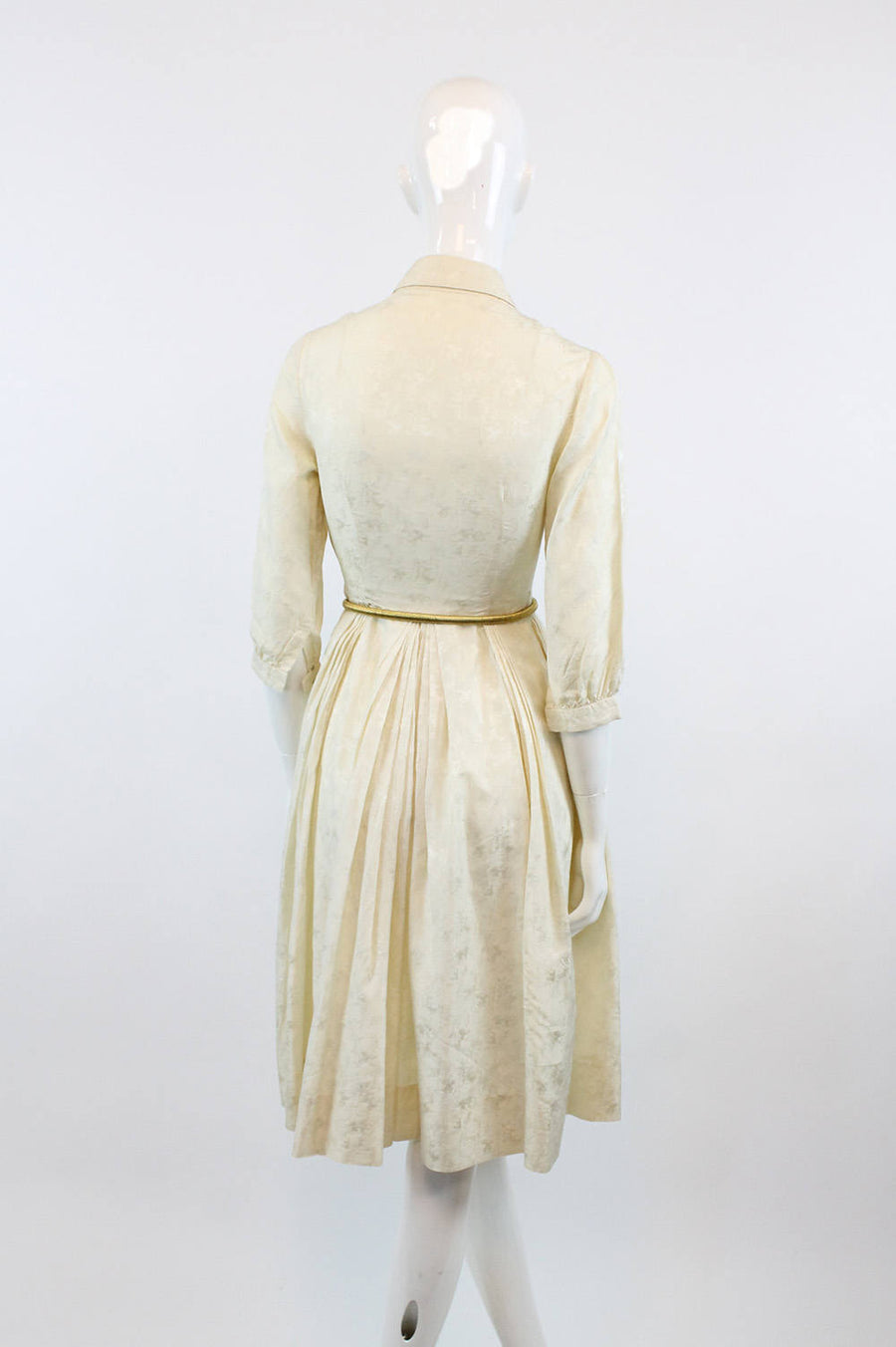 1950s champagne flute pattern dress xxs | vintage silk dress | new in