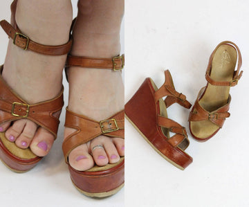1970s Sbicca platform wedge sandals size 6.5 us | vintage leather buckle shoes
