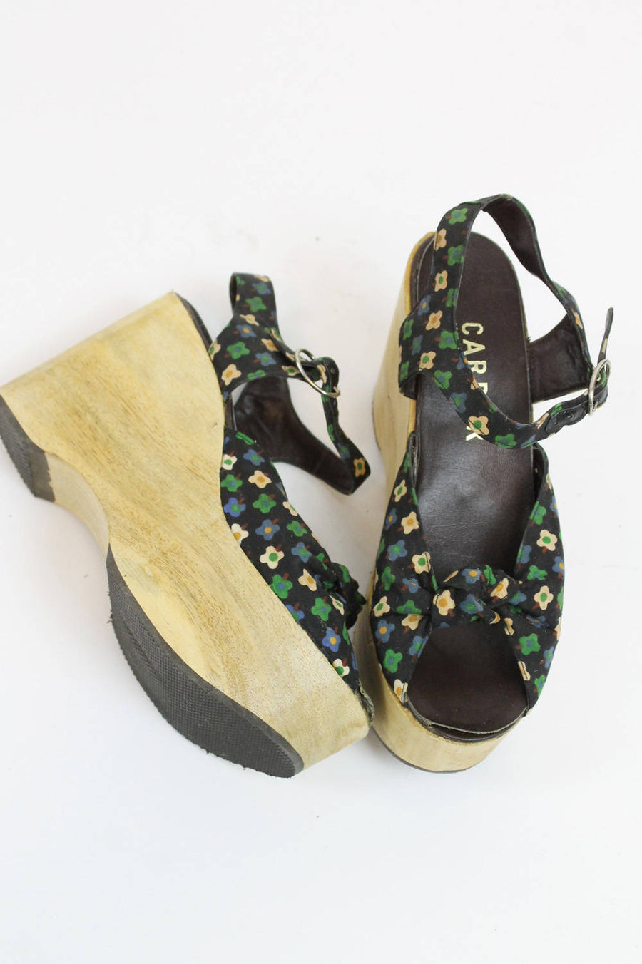 1970s Carber platforms size 7 us | vintage wood wedge shoes