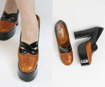 1970s platform mask shoes | vintage chunky heel pumps | Size 7.5 8N US
