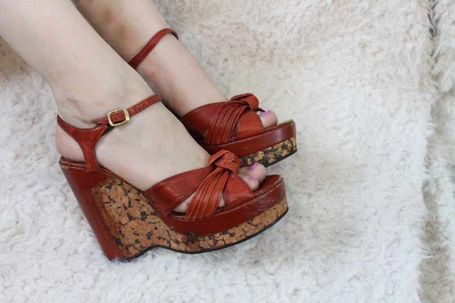 1970s Shoes ElDita's Platforms Size 8.5 /  70s Vintage Cork Wedges /  Cherry Red Shoes