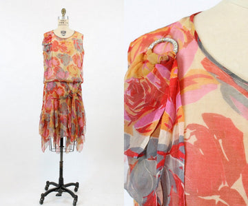 1920s rose print silk dress small medium | vintage 20s handkerchief hem