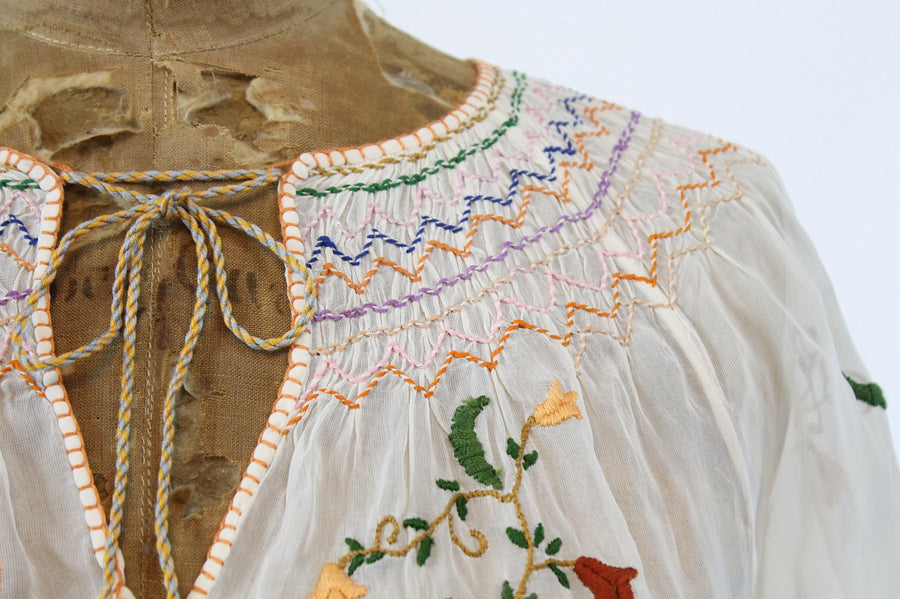 1930s Hungarian embroidered peasant blouse xs | vintage rayon blouse