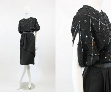 1940s sequin dress medium | vintage peplum dress rayon
