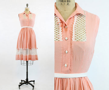 1950s gingham lattice dress xs | vintage cotton checked dress