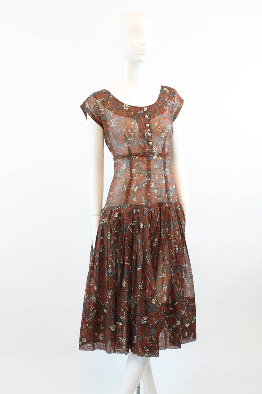 1940s tribal print dress small  | vintage cotton sheer dress