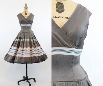 1950s silk striped dress | del trano original vintage full skirt  | xs