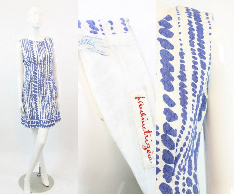 1960s Pauline Trigere dress small | vintage designer cotton shift dress | MAB