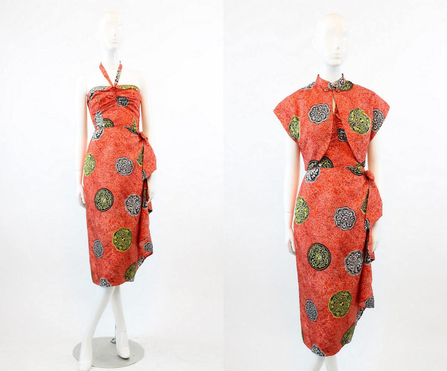 1940s halter Hawaiian dress xs small | vintage liberty house dress and bolero
