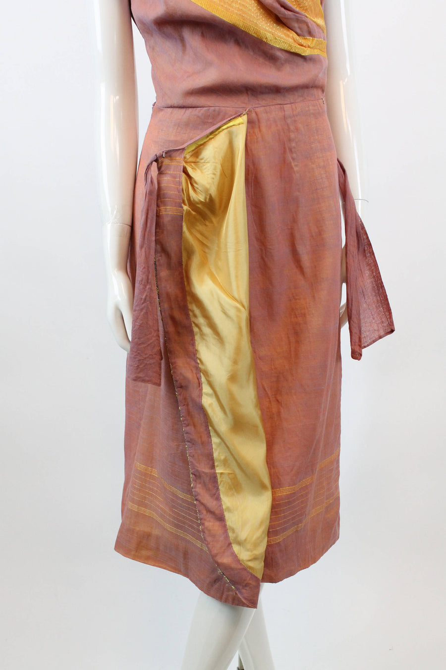 1950s  Indian sari silk dress xs | vintage sarong dress gold