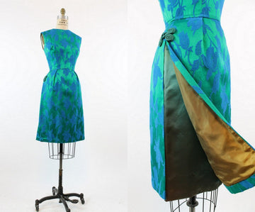 1960s Carol Craig asian tunic dress xs | vintage brocade wiggle dress