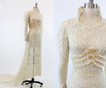 1930s wedding lace velvet dress | bridal gown with train | xxs