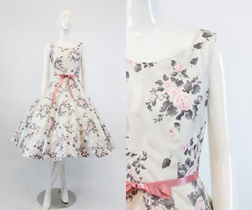 1950s rose print cotton dress | vintage full skirt dress | xs