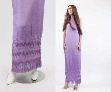 1960s silk fringe dress | vintage crocheted tassel  column gown | small