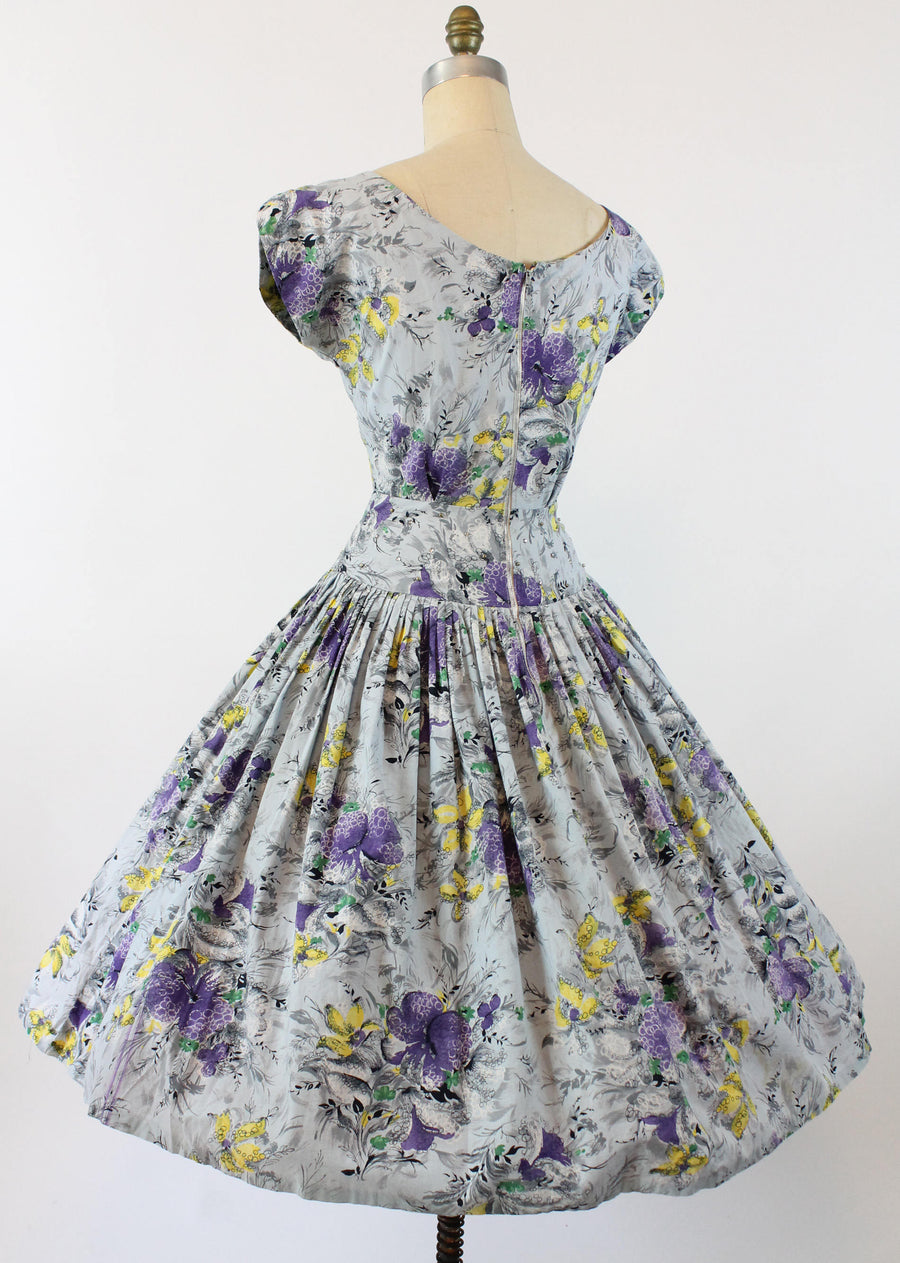 1950s floral cotton dress | vintage rhinestones and studs | medium