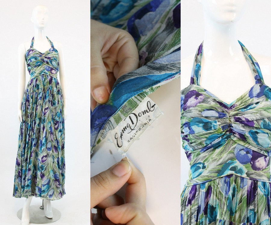1950s Emma Domb silk halter dress medium | vintage floral chiffon gown