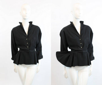 1940s peplum jacket | rayon faille vintage top | small