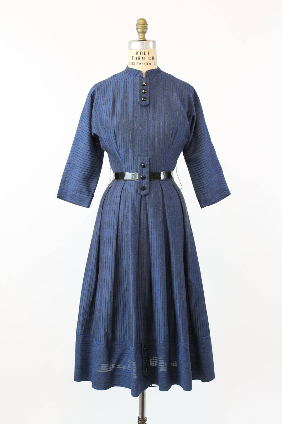 1950s striped dress cotton xs | vintage belted dress | new in