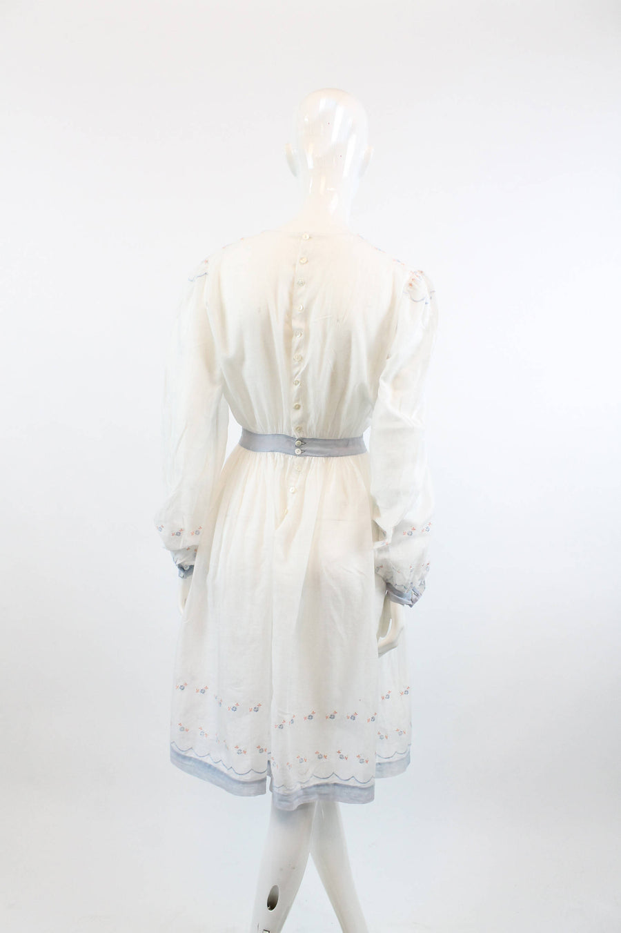 edwardian embroidered dress | 1910s antique lace cotton voile | xs