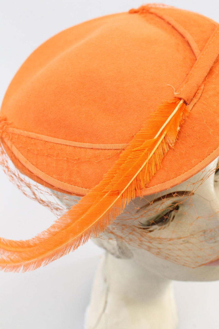 1940s tilt hat orange feather  | vintage fascinator