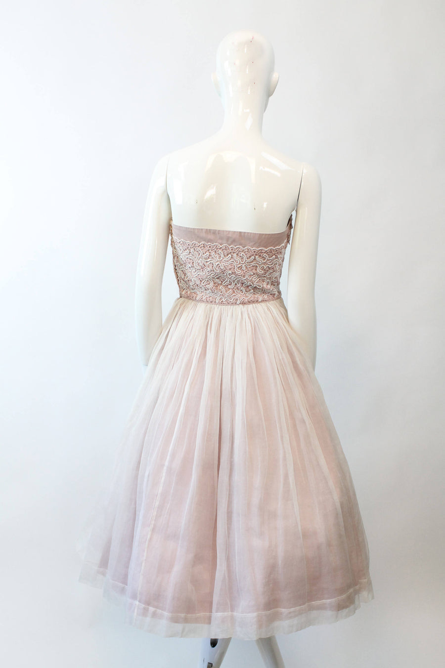 1950s beaded strapless dress Carlye  | vintage silk organza full skirt | xs