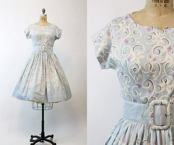 1950s polished cotton swirl dress medium | vintage dress