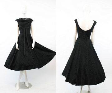 1950s lace dress | Jonny Herbert full skirt cocktail dress | xs