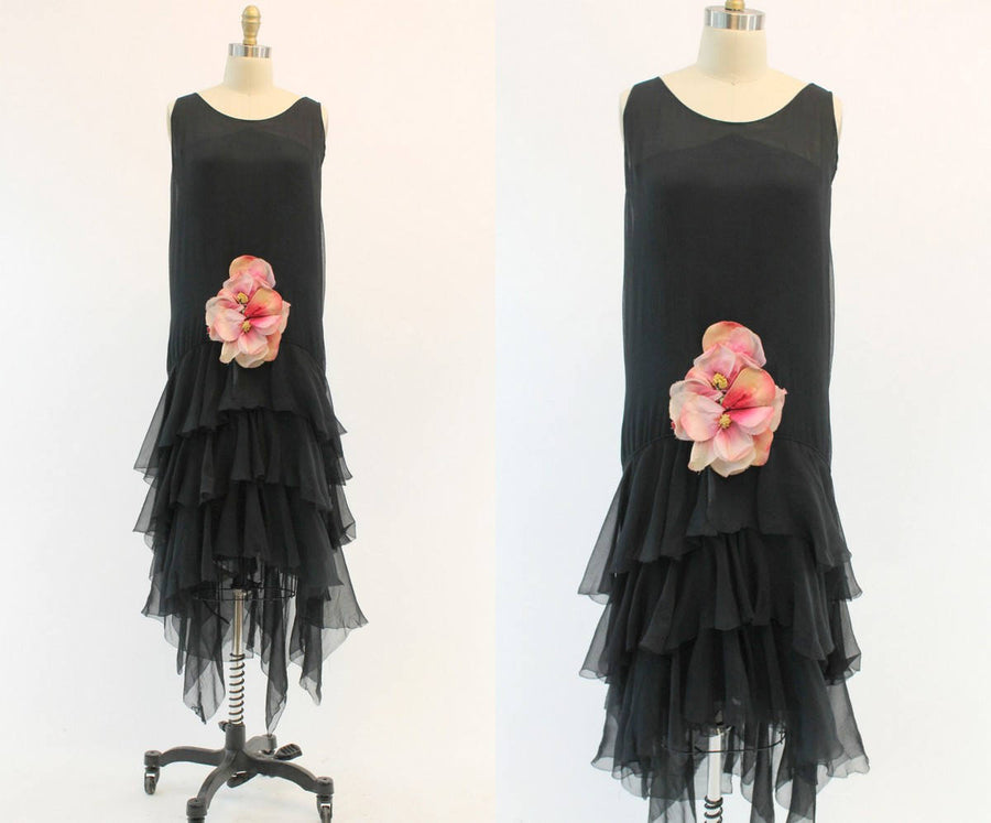 1920s silk handkerchief hem dress | vintage art deco flapper flower dress size | xs small