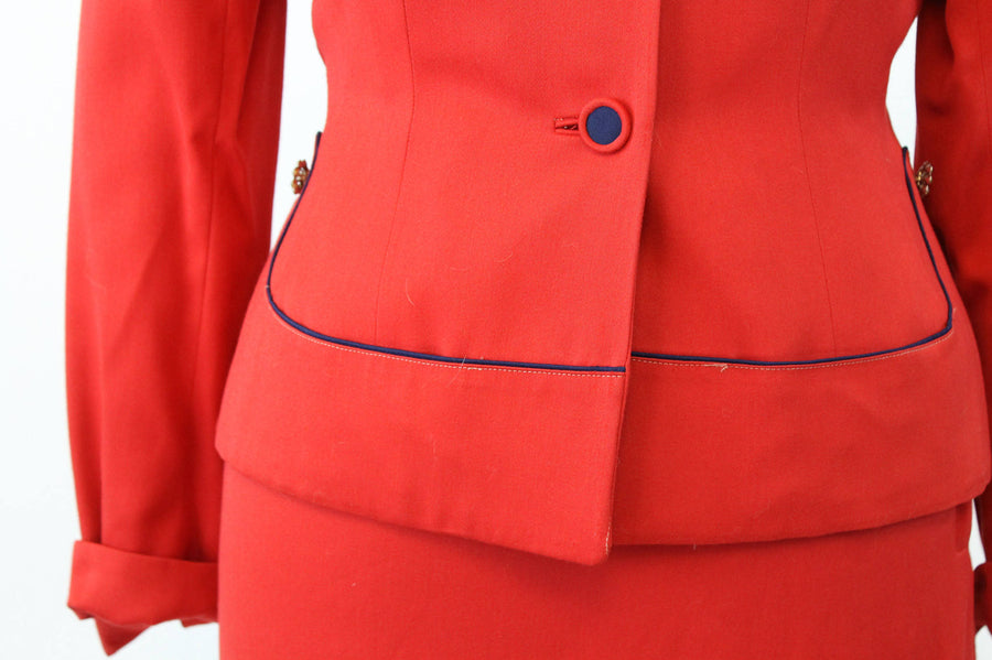1950s gabardine red suit medium | vintage piped jacket and skirt