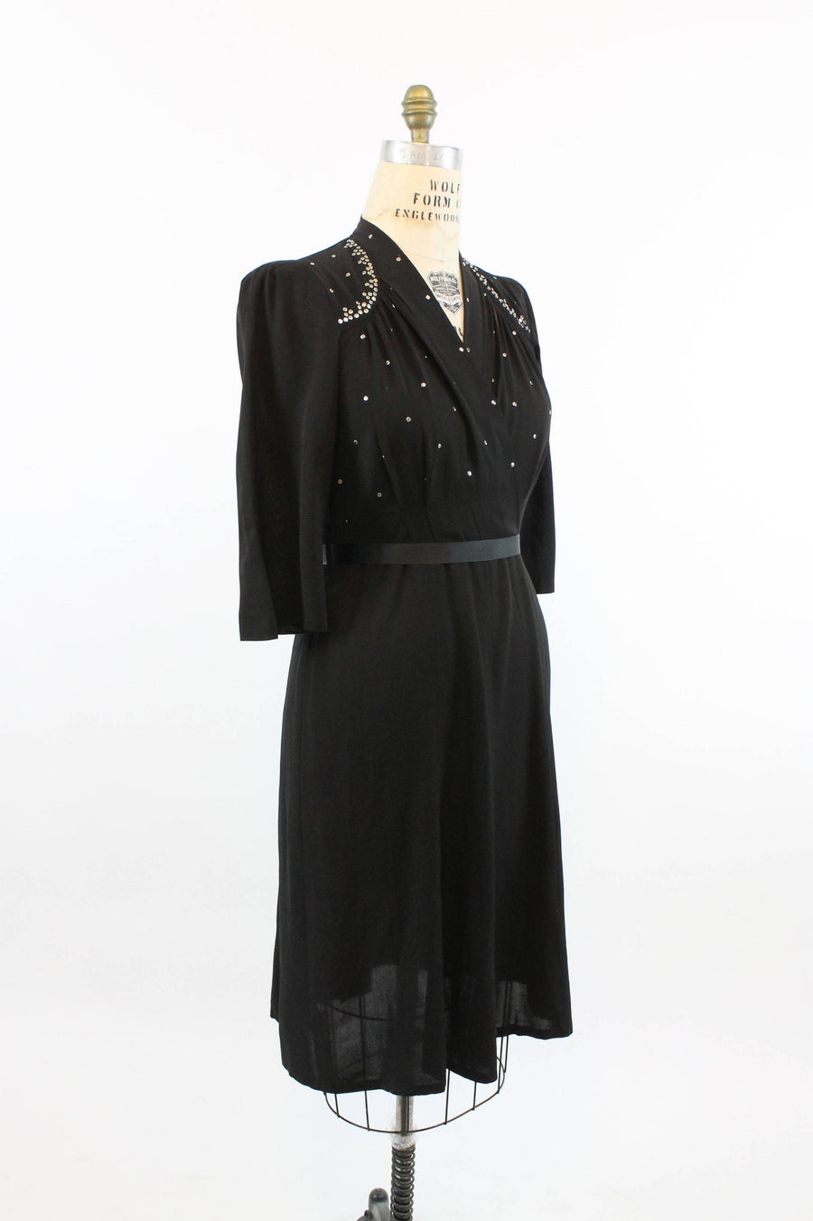 30s Dress Studded Large  / 1940 Vintage Dress Rayon Silver Sequins /  New Year Dress