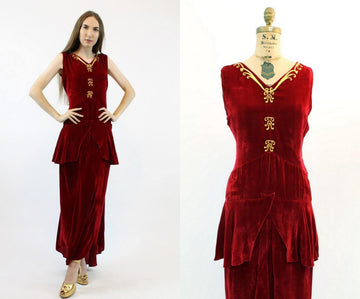 1930s gold leaf velvet dress small  | vintage peplum gown | new in