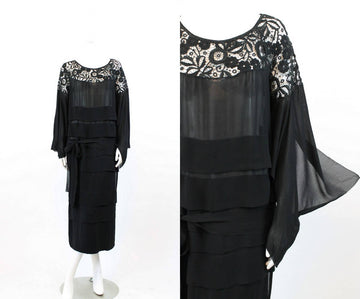 1930s lace dress | tissue silk spiderweb cutout | small-medium