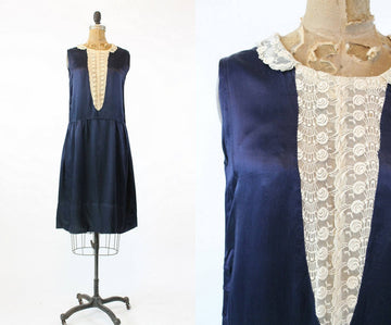 1920s midnight blue silk charmeuse dress | vintage lace dropwaist dress