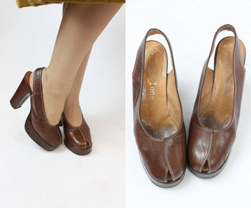 1970s does 1940s peep toe platforms size 6.5 - 7 us | vintage slingbacks | new in