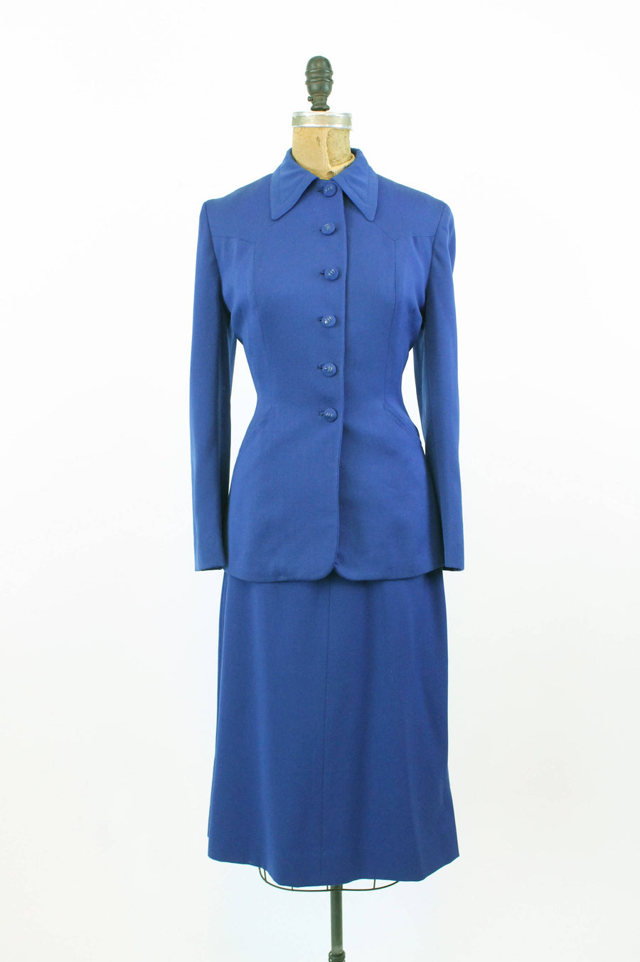 1950s wool gaberdine suit | vintage jacket and skirt | small