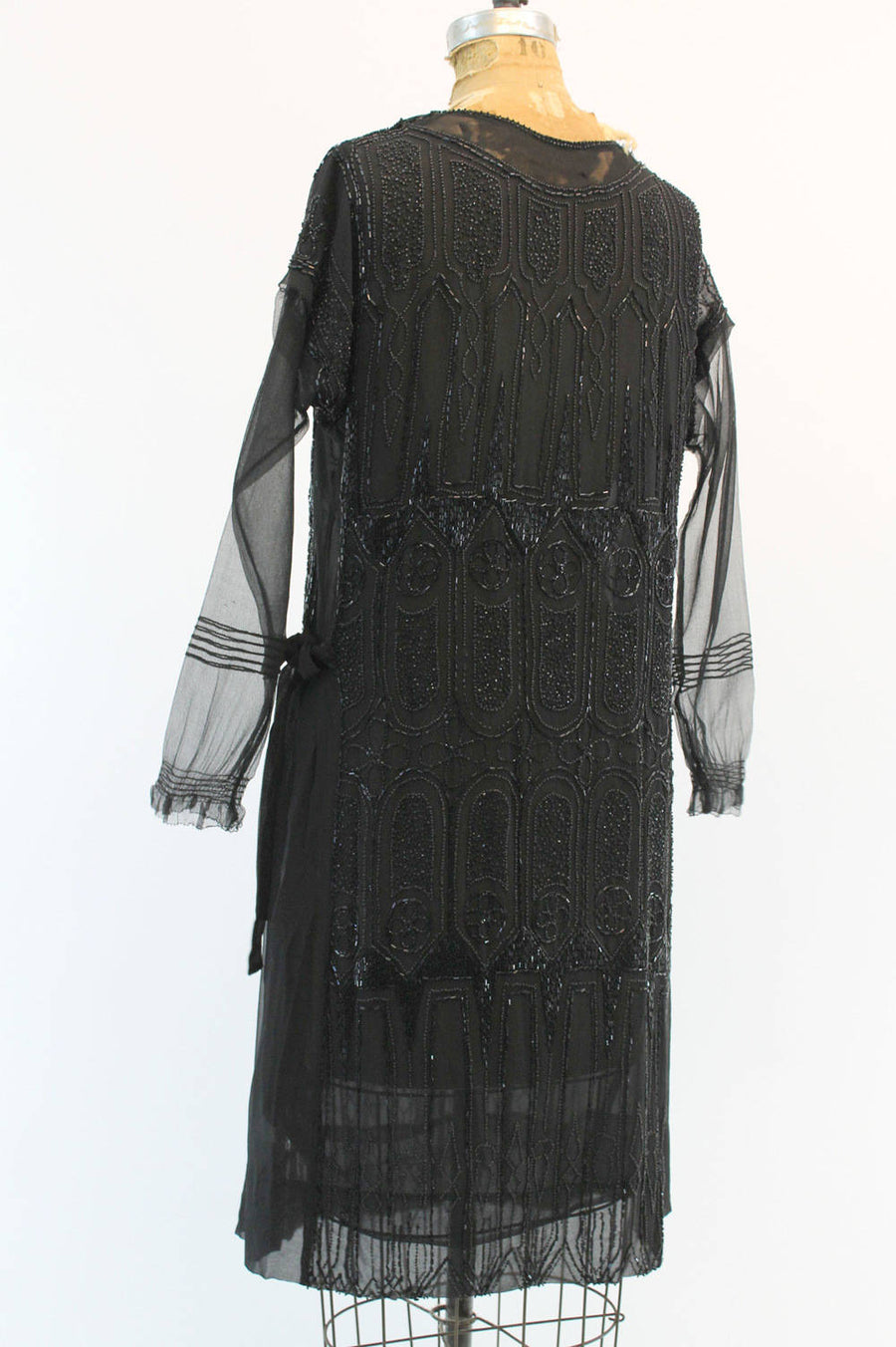 1920s beaded dress | vintage flapper silk quatrifoil | medium