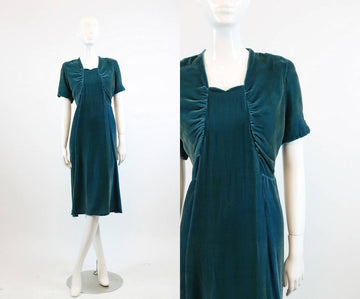 1930s silk velvet dress xs | sweetheart neckline | new in