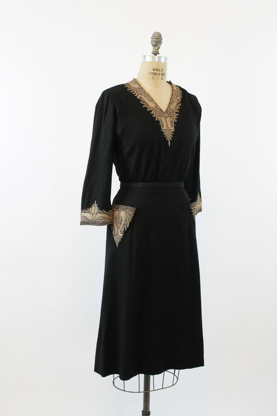1930s gold embroidered dress and cape medium | vintage wool dress and matching jacket