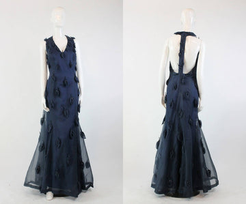 1960s backless silk organza long dress medium | vintage t back gown