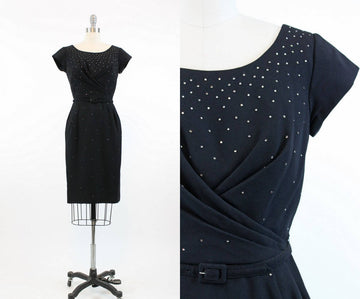 1950s rhinestone dress xs | vintage cocktail studded dress