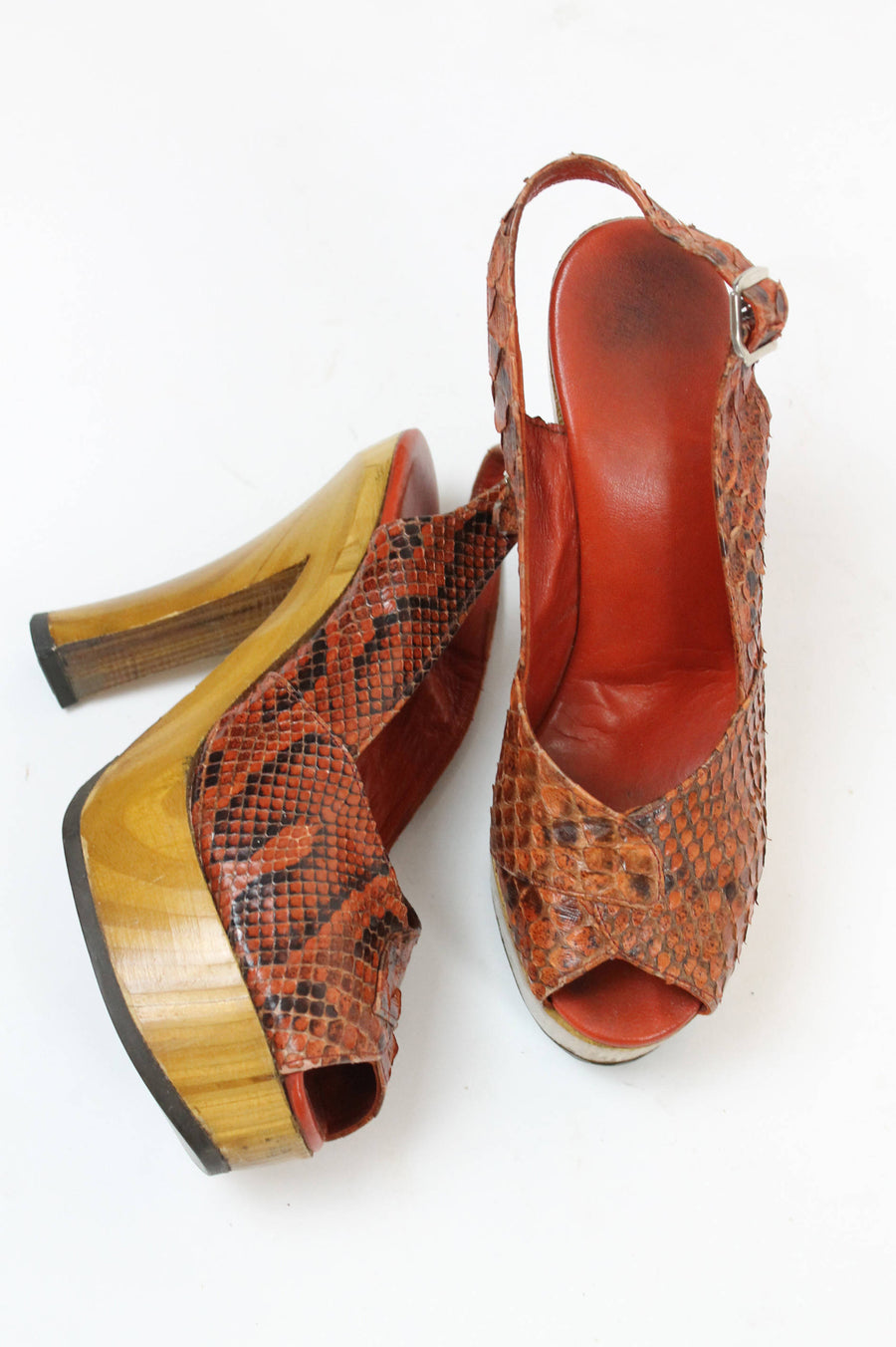 1970s snake wood platforms shoes Size 4.5 us | slingback peep toes