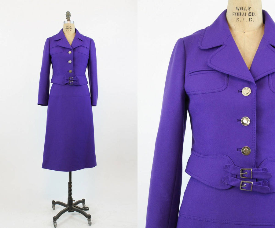 1960s Louis Feraud purple suit xs | vintage wool space age jacket and skirt