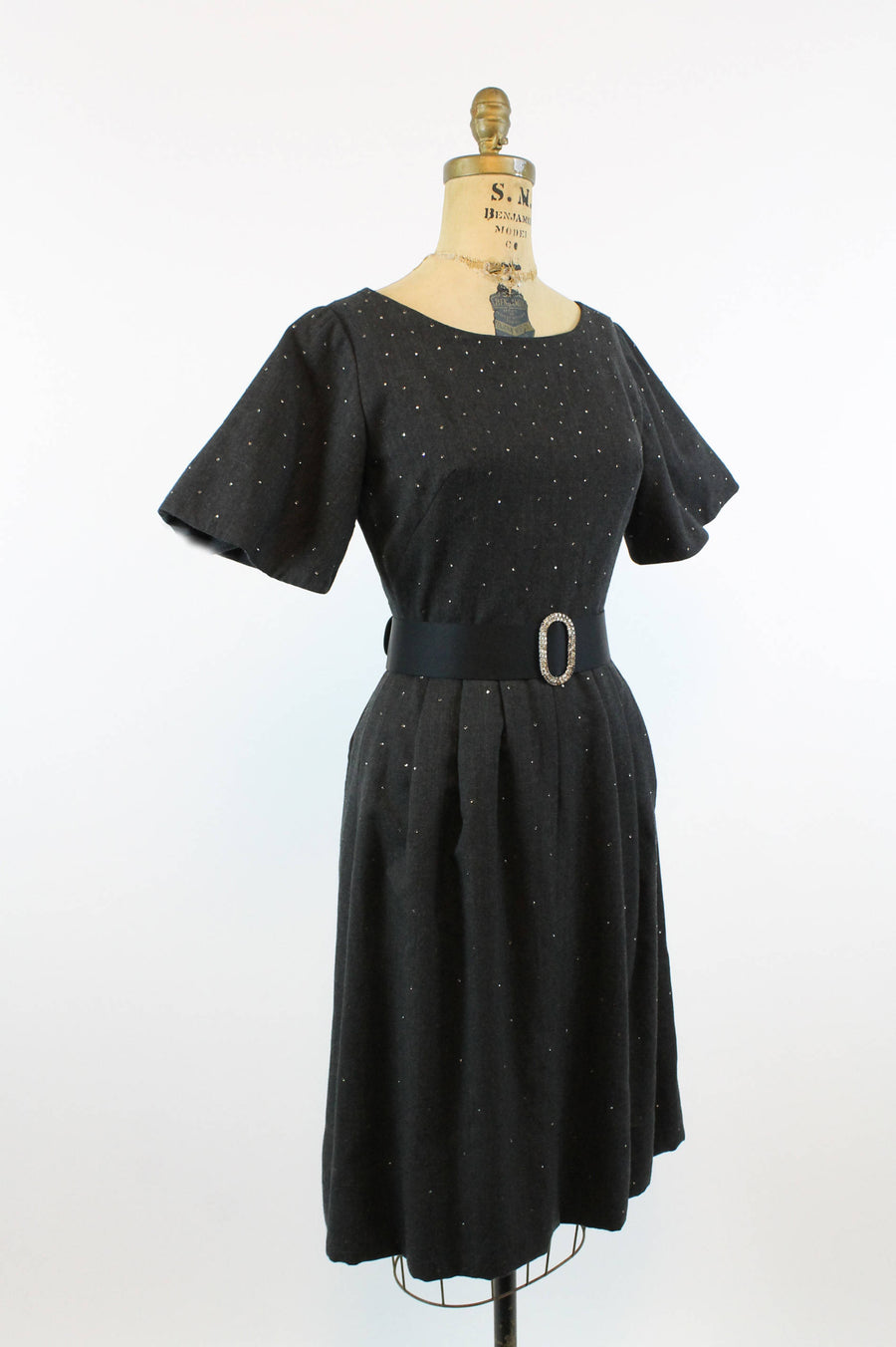 1950s wool dress | vintage rhinestone fit and flare | xs