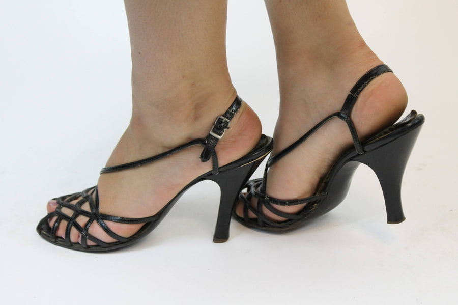 1940s strappy cage shoes size 7 us | vintage 40s sandals