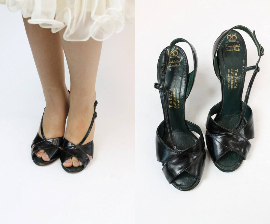 1950s strappy shoes size 7 us | vintage sandals | new in