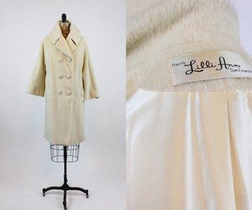 1960s Lilli Ann Coat Large |  Mohair Coat Double Breasted Large