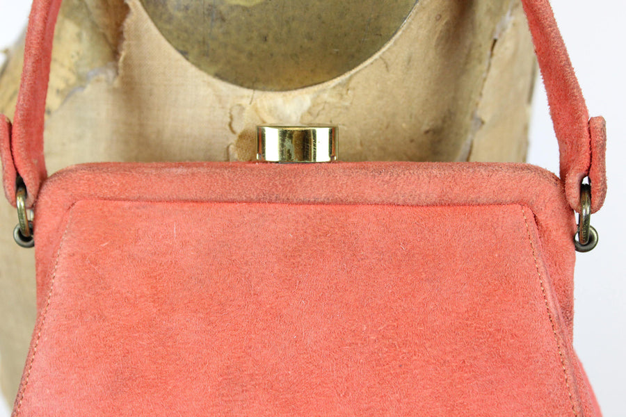 1950s suede purse |  vintage handbag frame melon bag