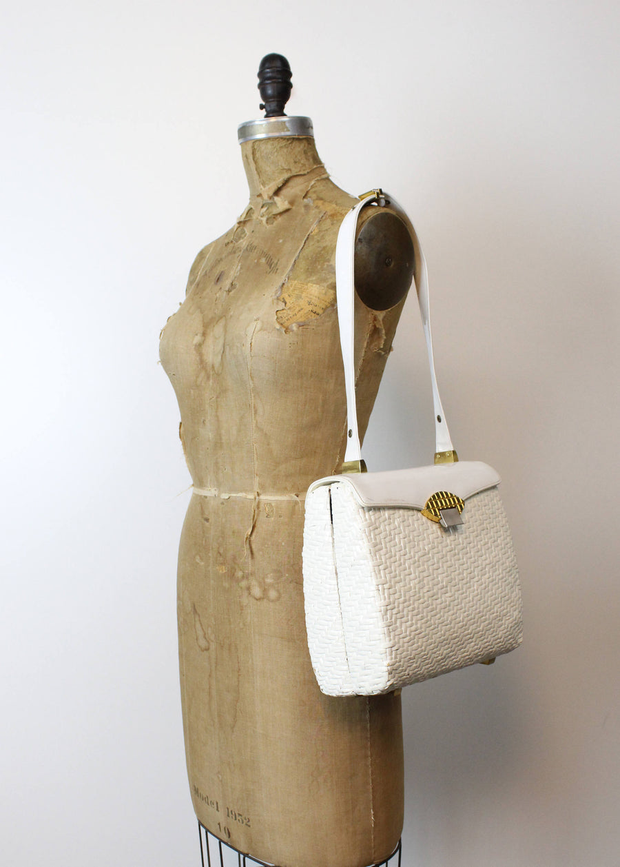 1950s Koret wicker handbag | vintage large purse shoulder bag