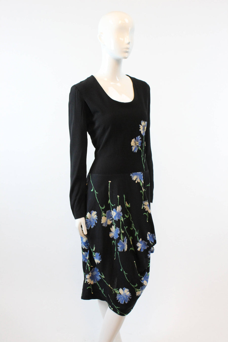 1940s floral applique dress  | vintage rayon beaded  | medium
